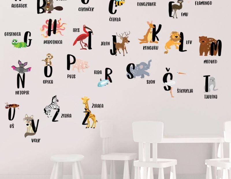 nalepka abeceda živali